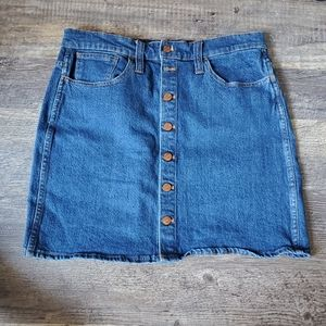 Madewell button jean skirt